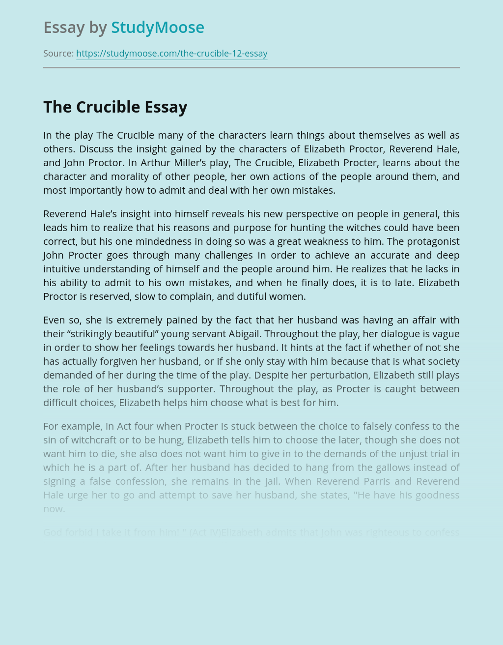 The Crucible: Things Characters Learn