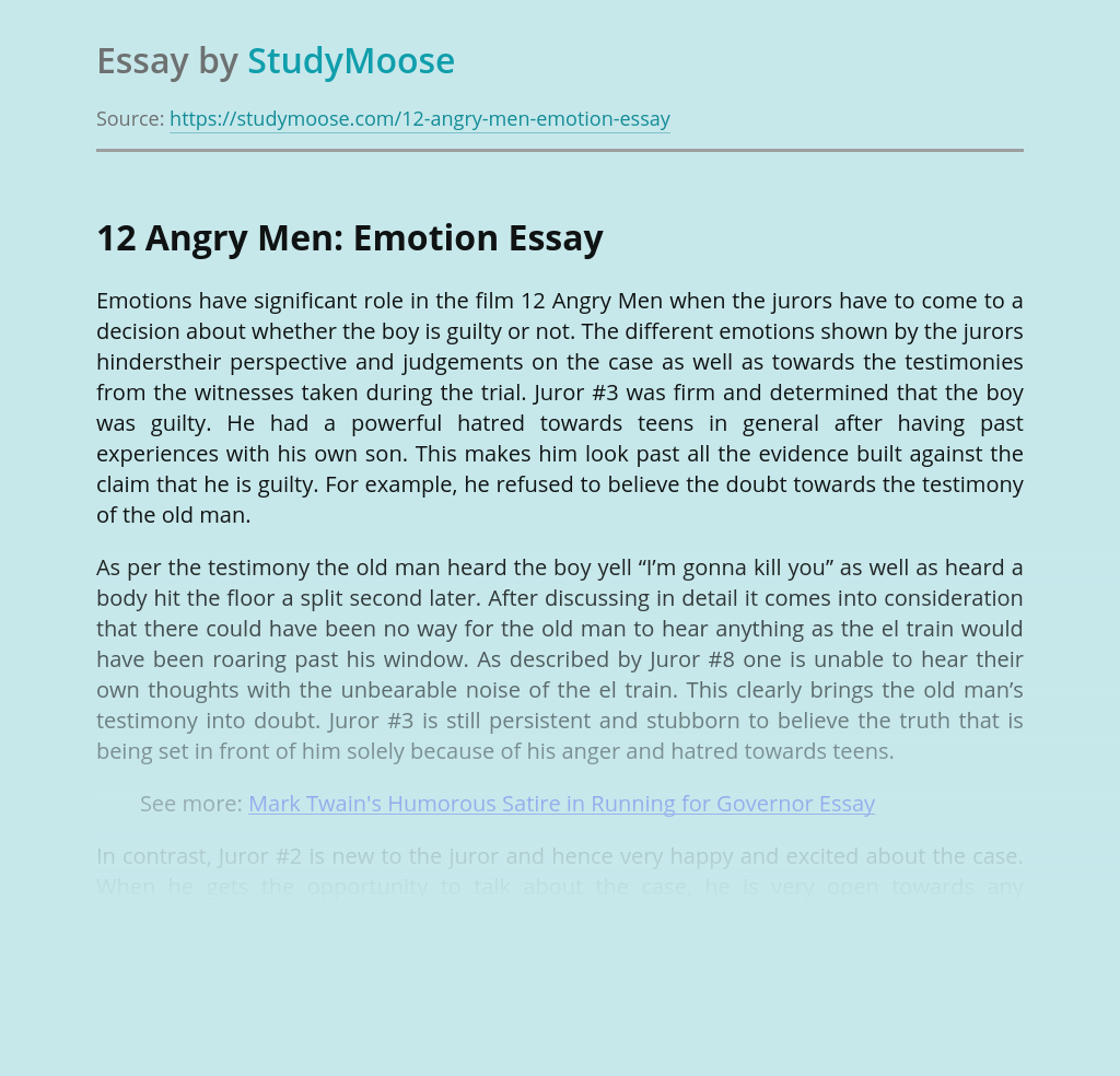 12 Angry Men: Emotion