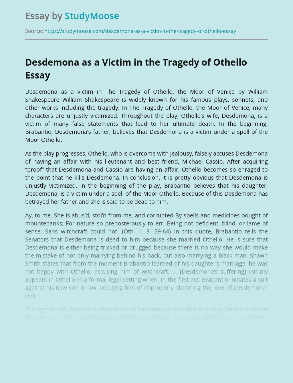 Desdemona as a Victim in the Tragedy of Othello