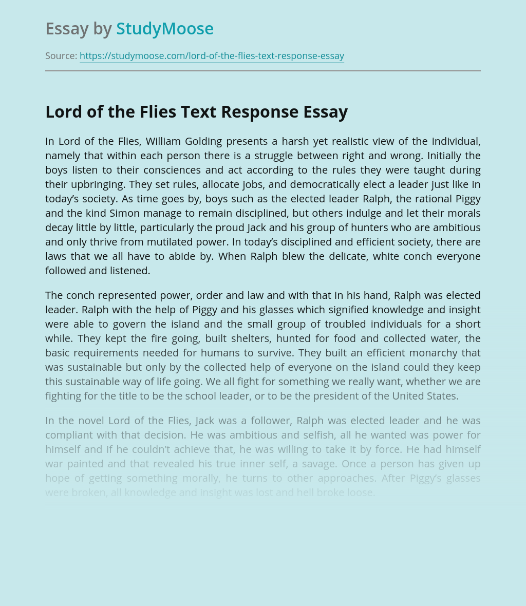 Lord of the Flies Text Response