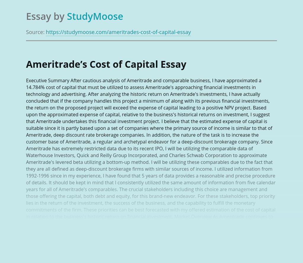 Management Solutions for Ameritrade's Optimal Capital Structure