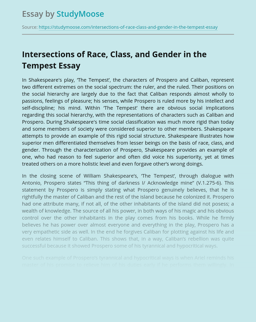 Intersections of Race, Class, and Gender in the Tempest