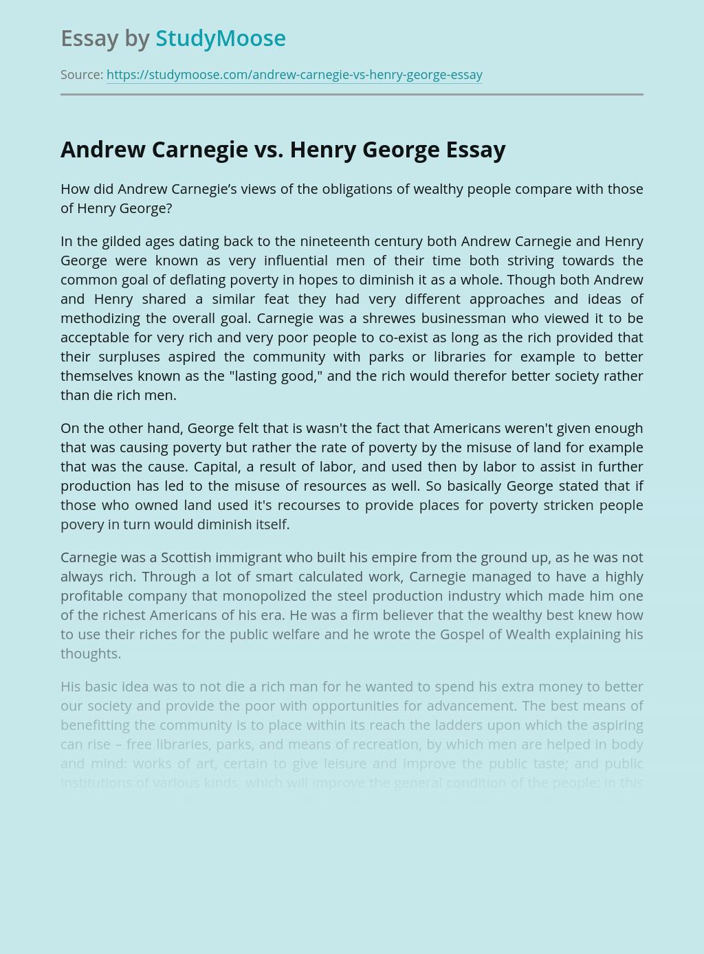Andrew Carnegie vs. Henry George