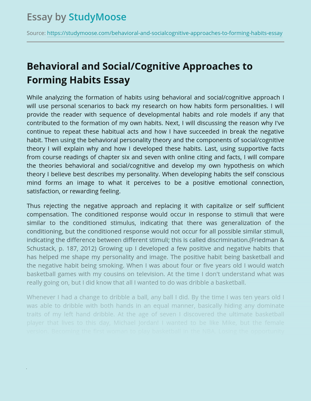 Behavioral and Social/Cognitive Approaches to Forming Habits
