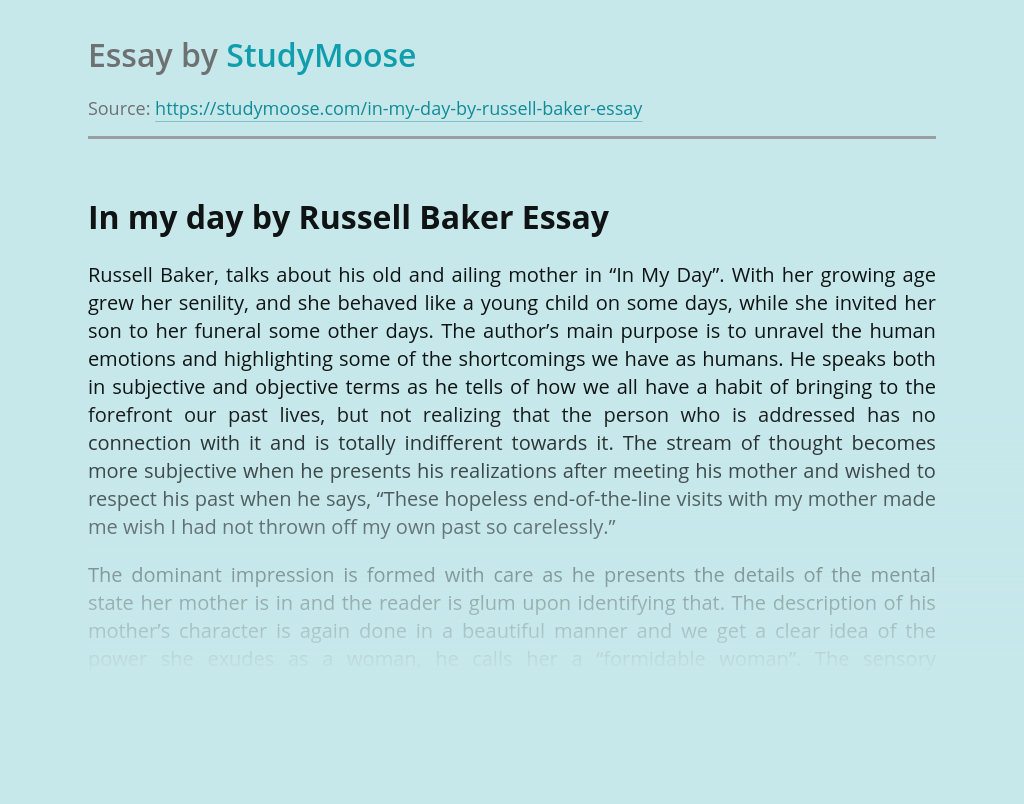 In my day by Russell Baker