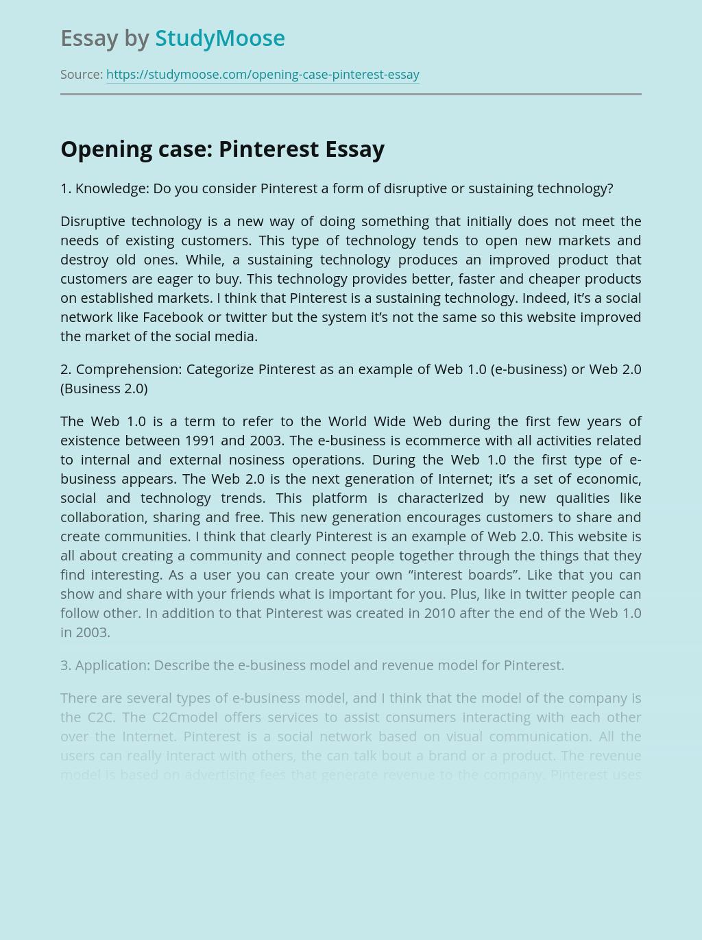 Opening case: Pinterest