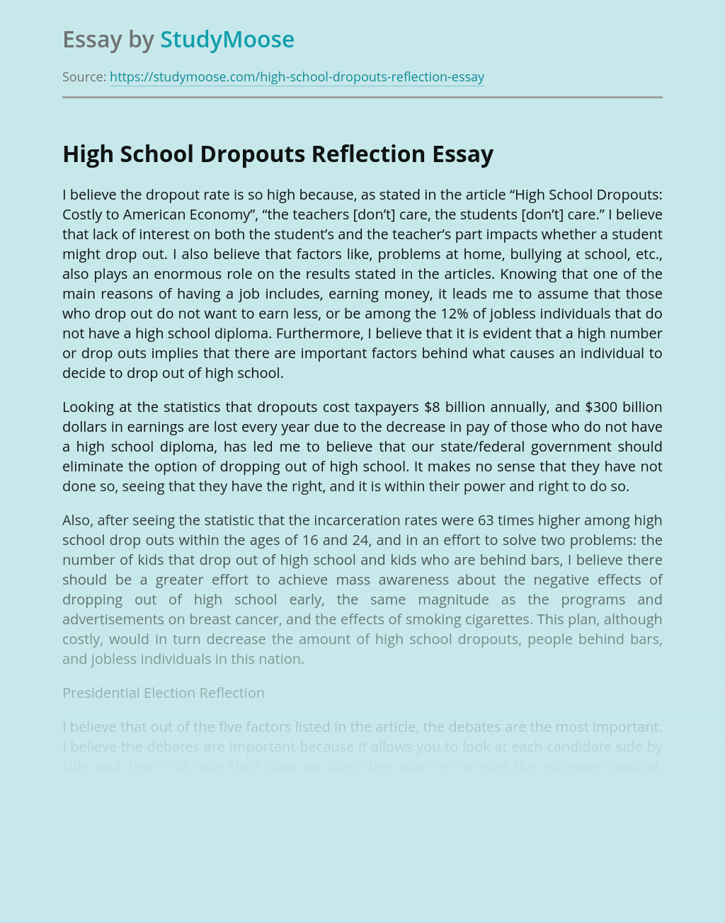 Essays on students dropping out of school reflective essay editor services online