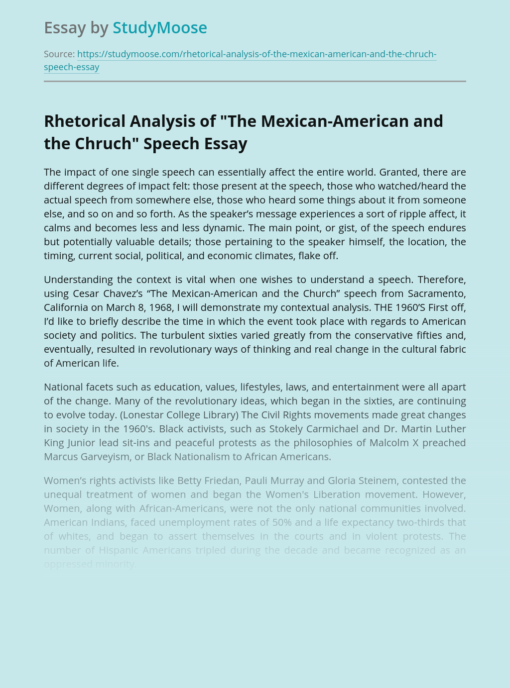 """Rhetorical Analysis of """"The Mexican-American and the Chruch"""" Speech"""