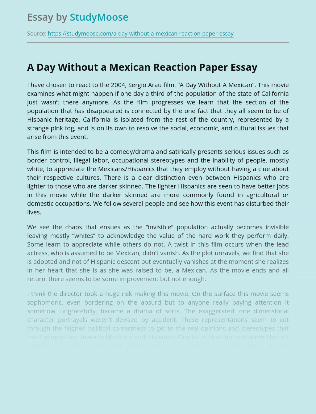 A Day Without a Mexican Reaction Paper