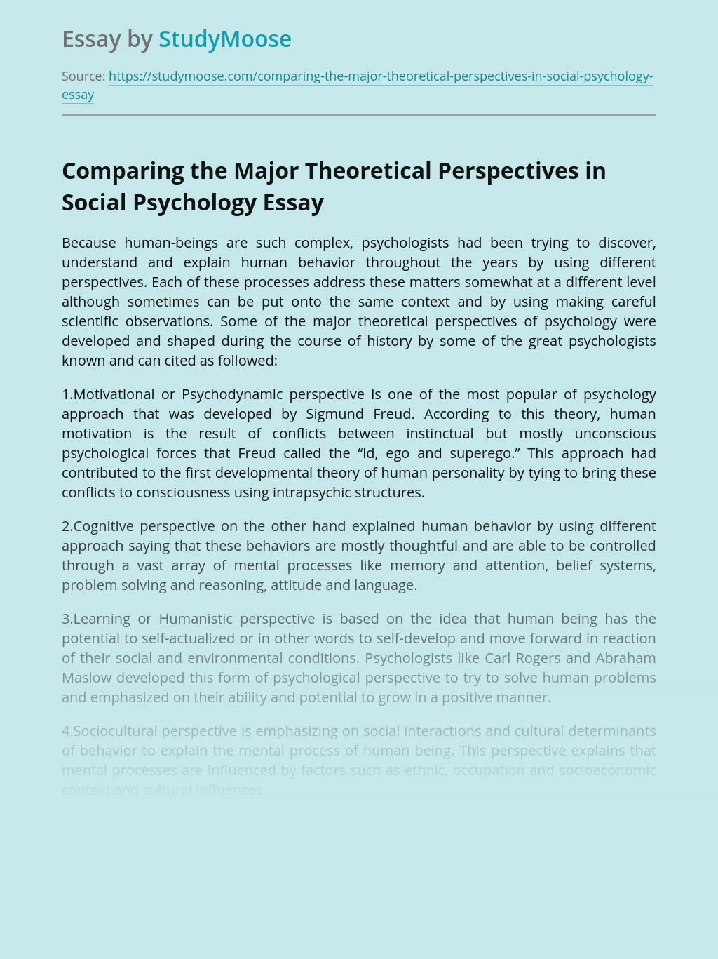 Comparing the Major Theoretical Perspectives in Social Psychology