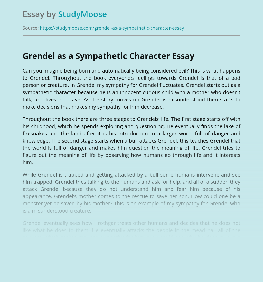 Grendel as a Sympathetic Character