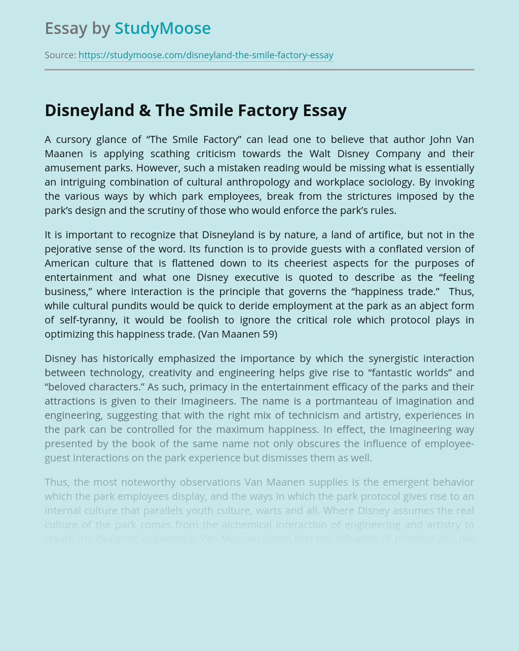 The Smile Factory: Work At Disneyland by John Van Maanen
