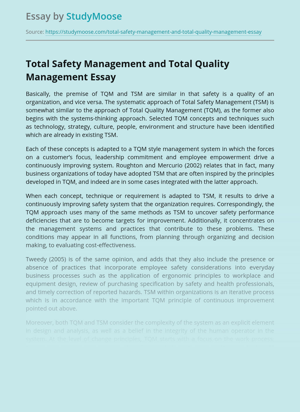 Total Safety Management and Total Quality Management
