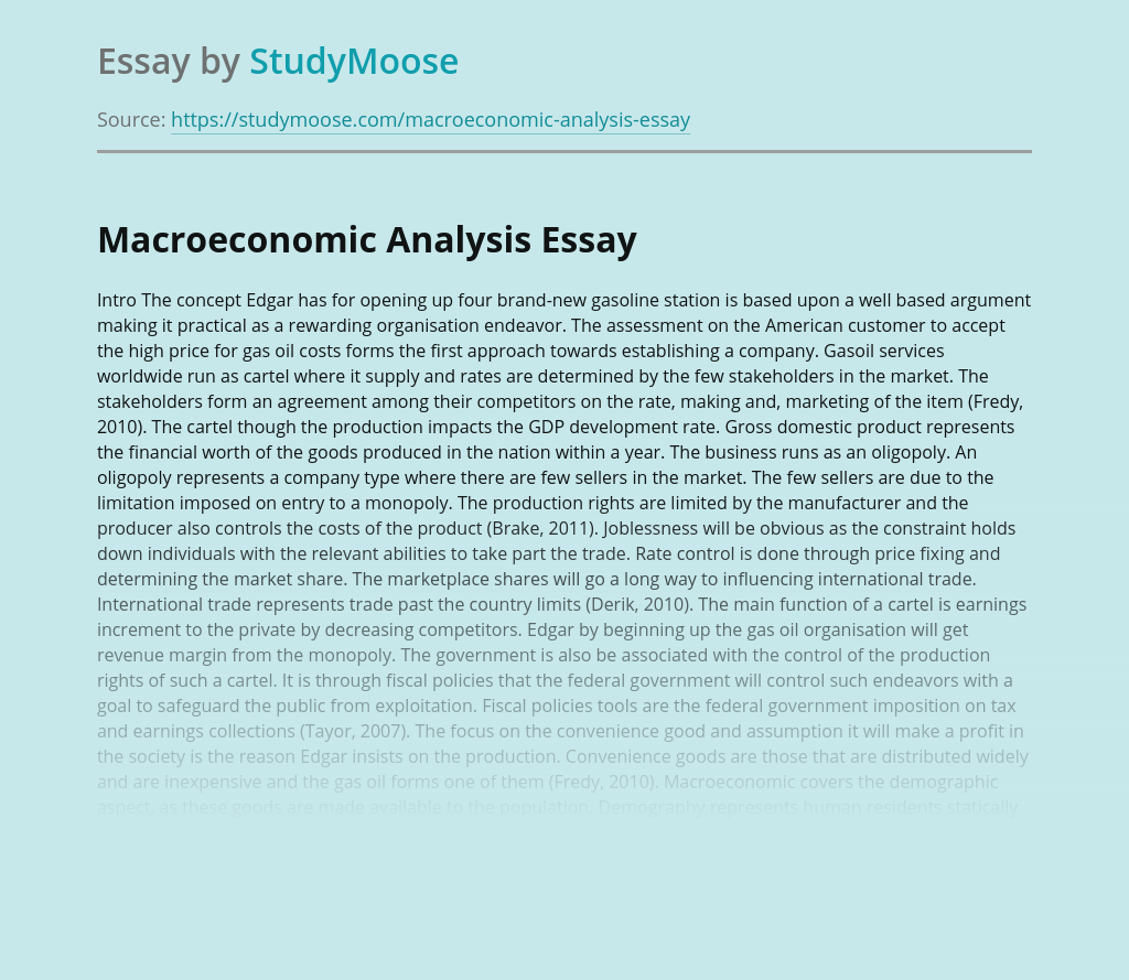 Edgar's Analysis of Macroeconomic Issues