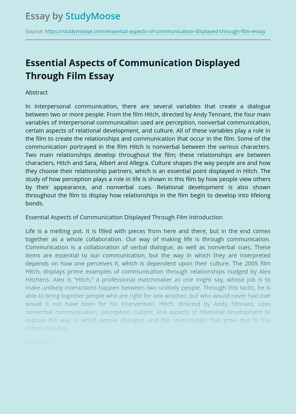 Essential Aspects of Communication Displayed Through Film