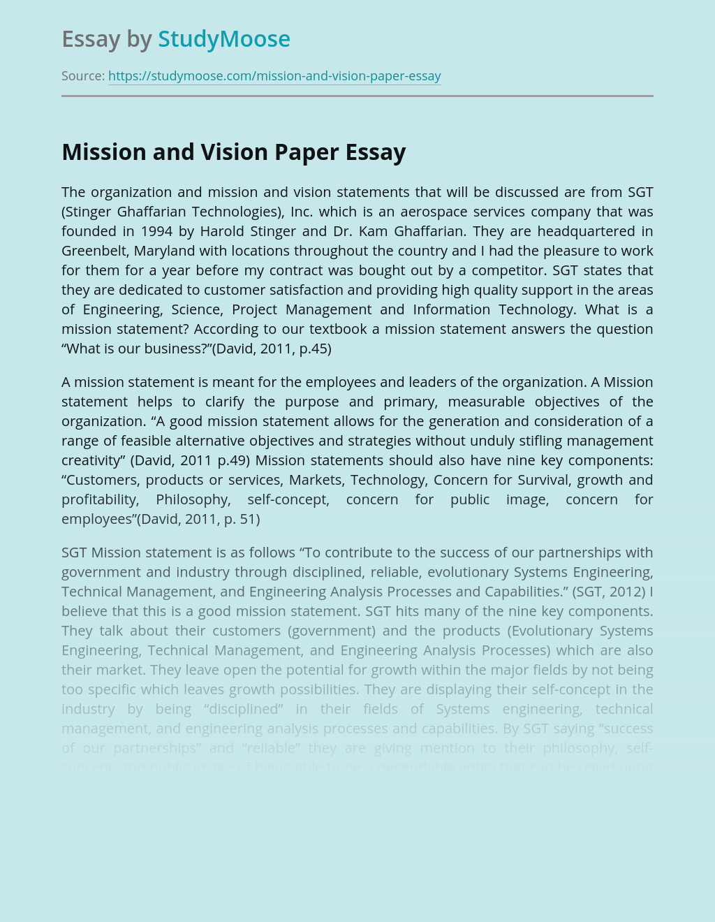 Mission and Vision Paper
