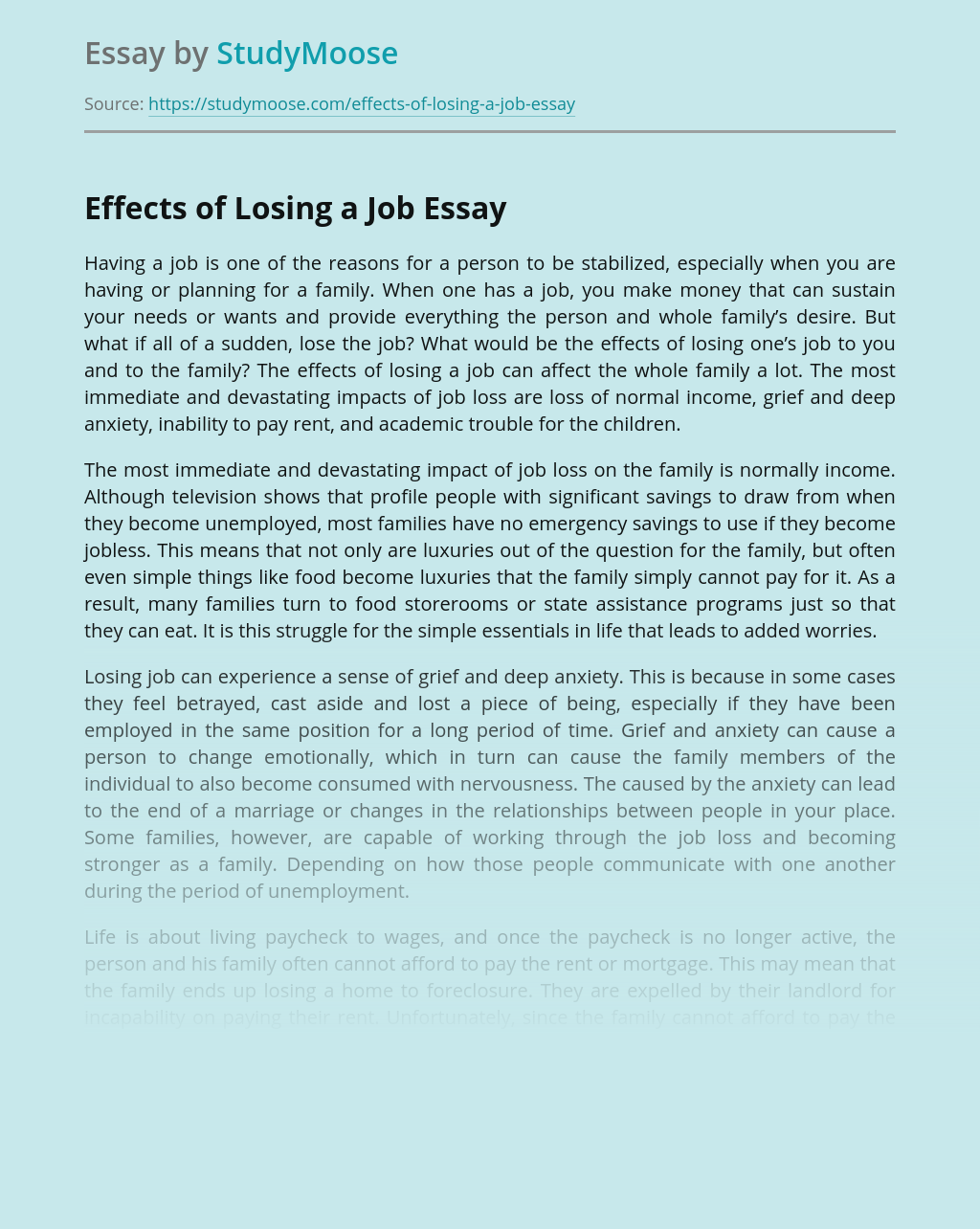 Effects of Losing a Job