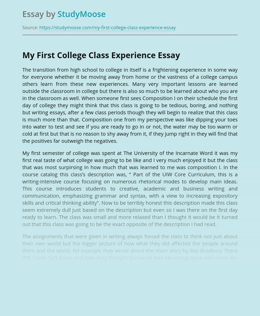 My First College Class Experience