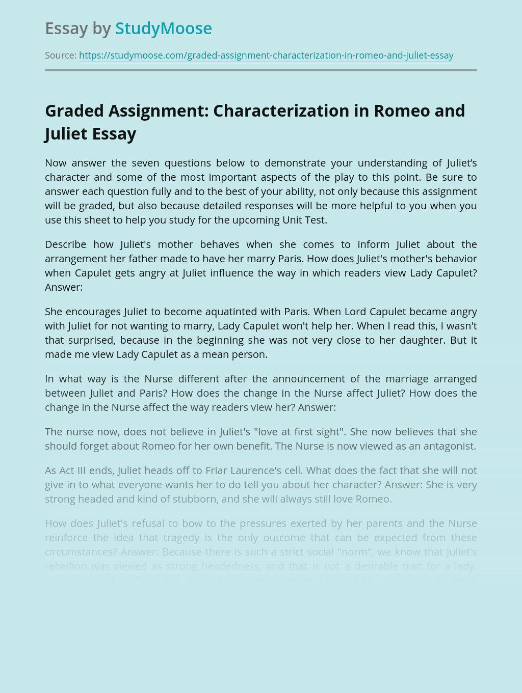 Graded Assignment: Characterization in Romeo and Juliet