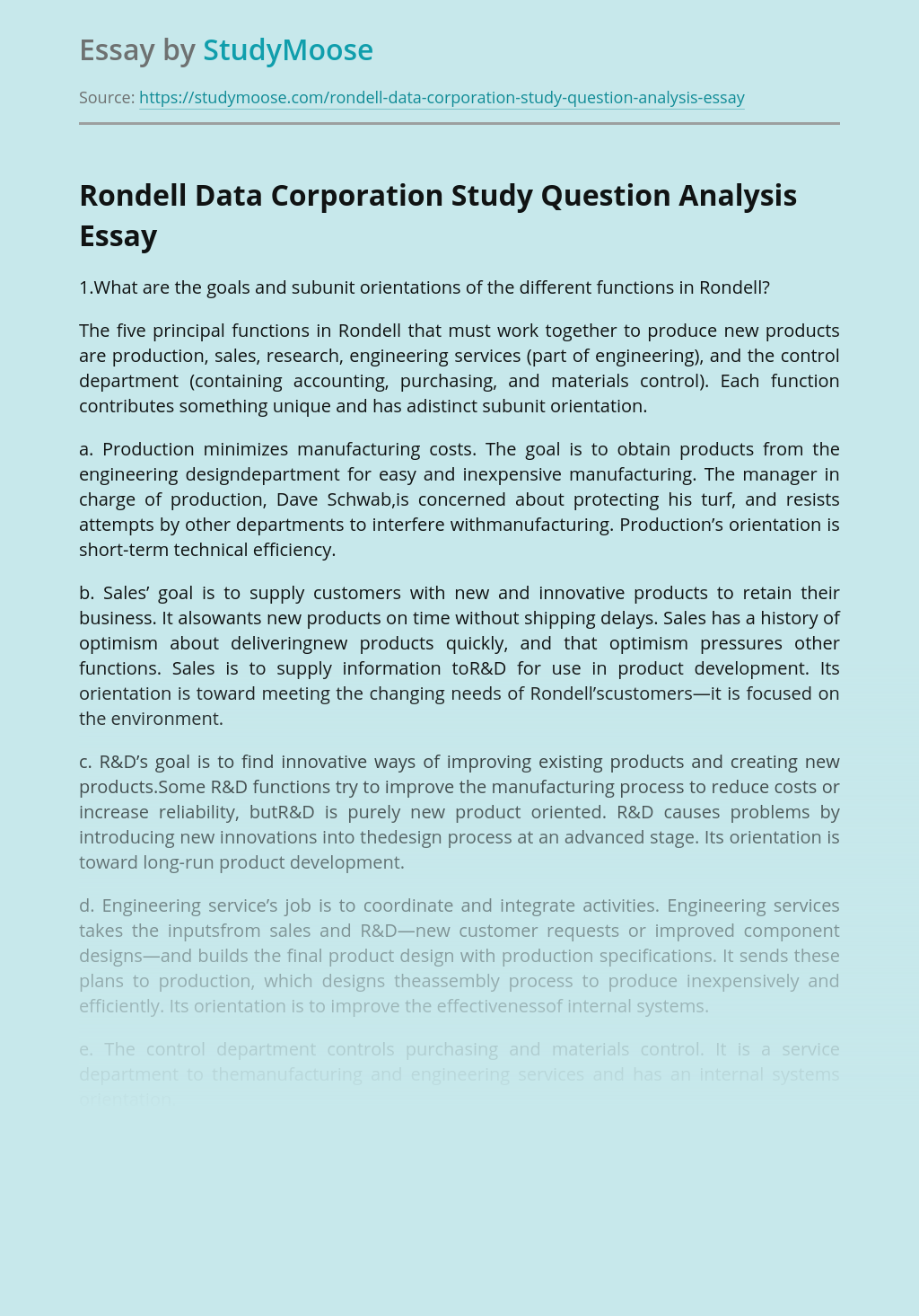 Rondell Data Corporation Study Question Analysis