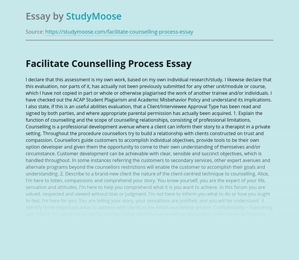 Facilitate Counselling Process