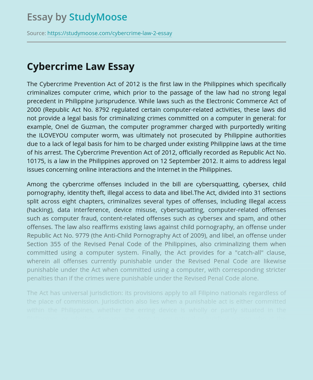 The Cybercrime Prevention Act of 2012