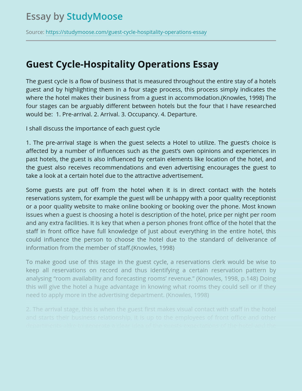 Guest Cycle-Hospitality Operations