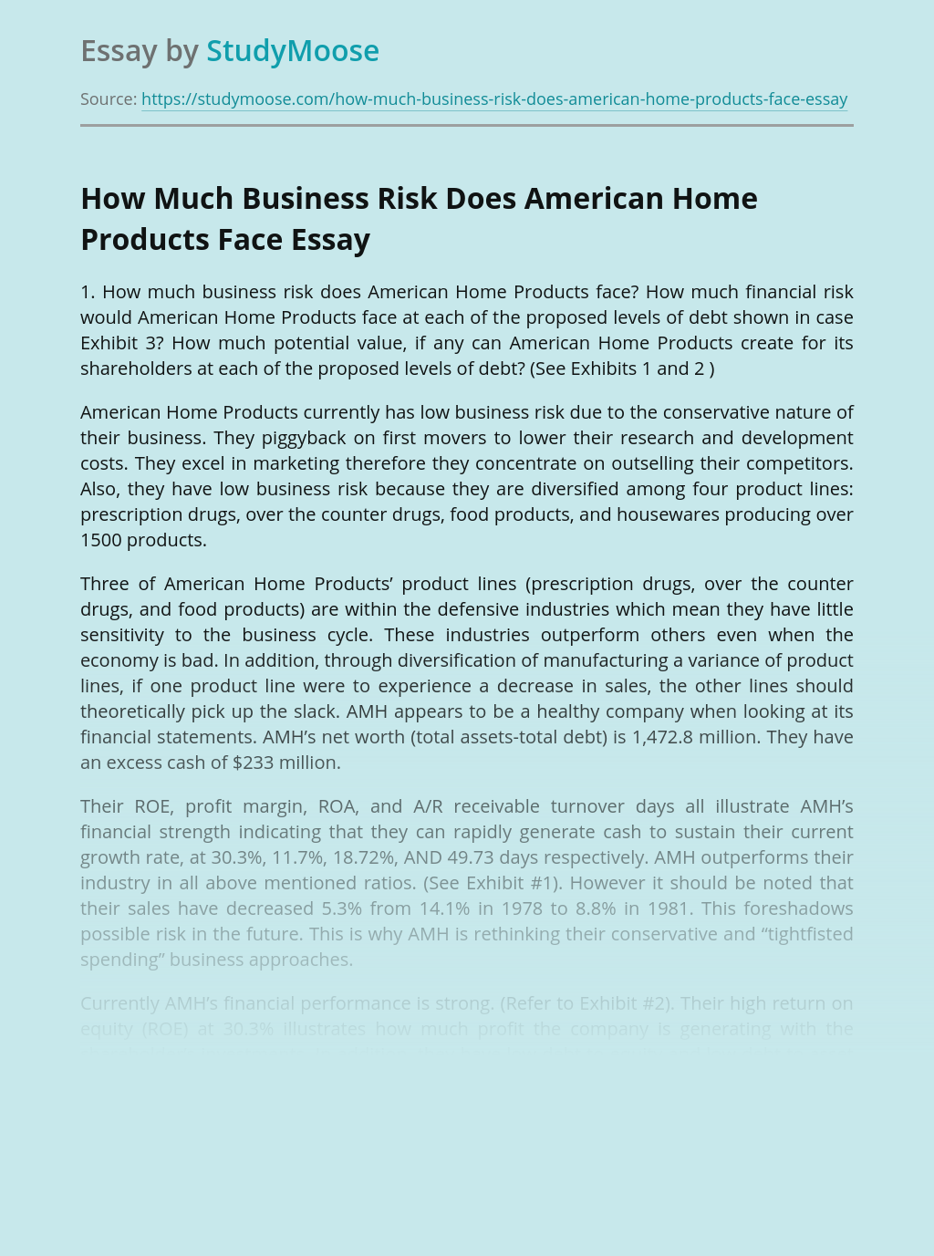 How Much Business Risk Does American Home Products Face