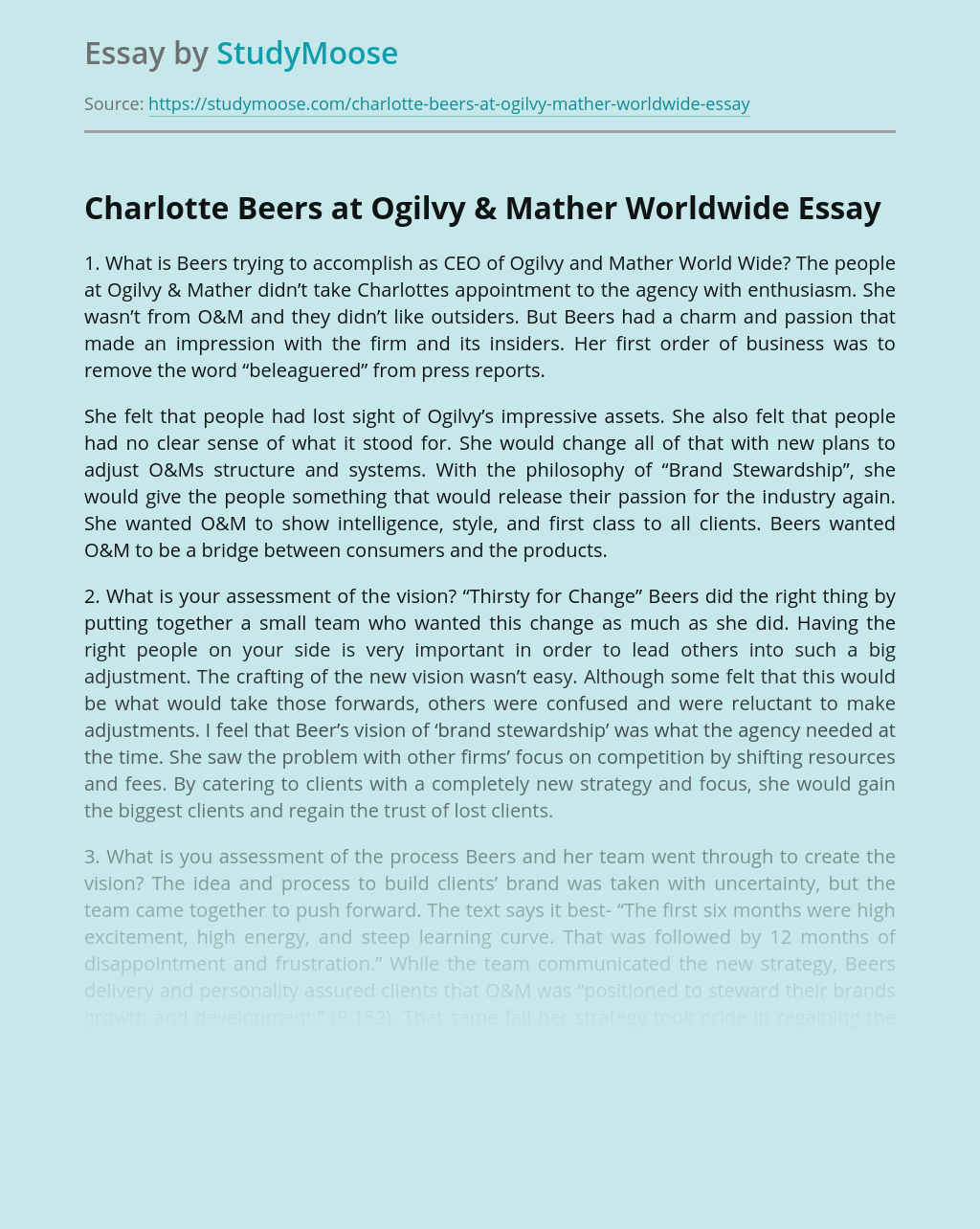 Charlotte Beers at Ogilvy & Mather Worldwide