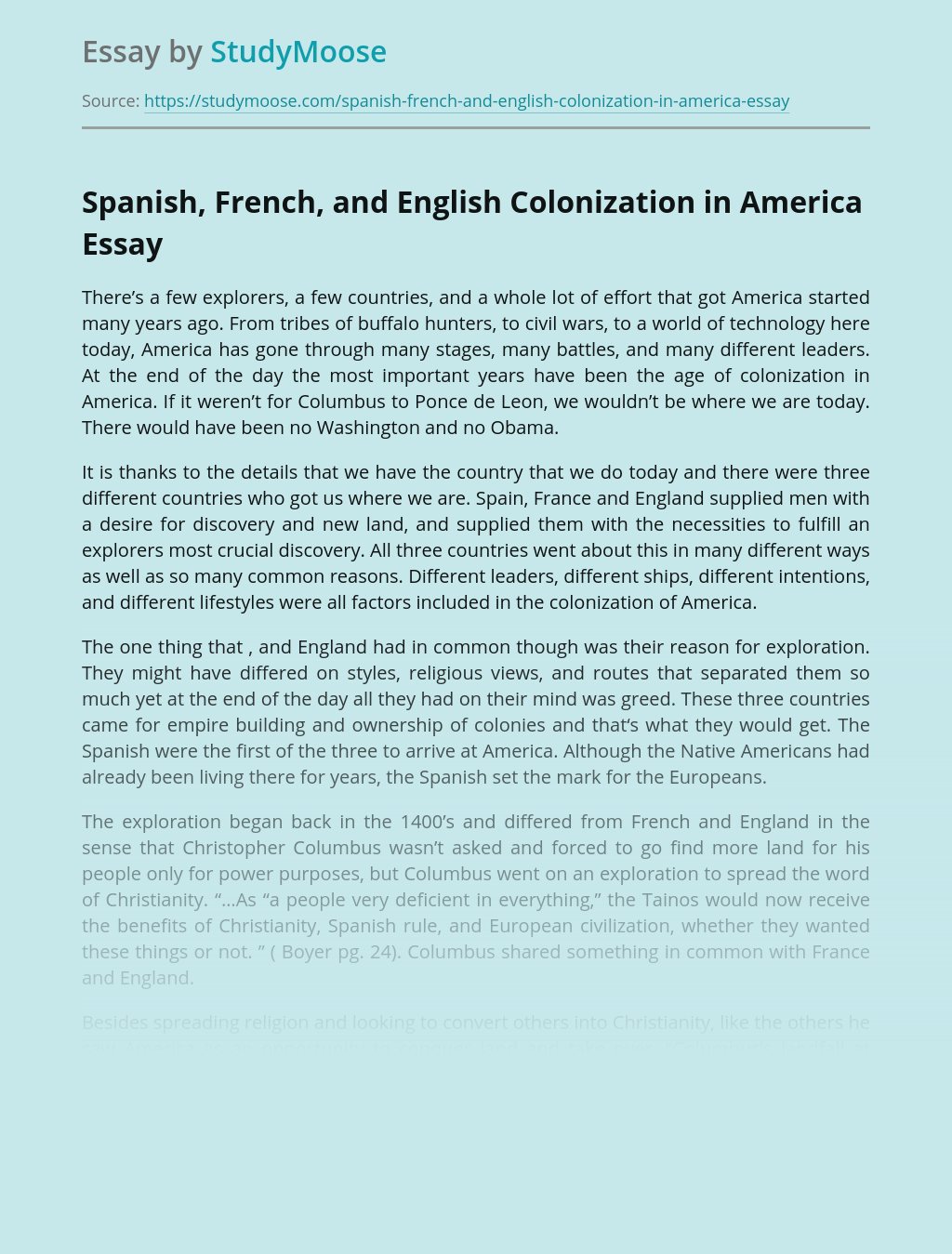 Spanish, French, and English Colonization in America