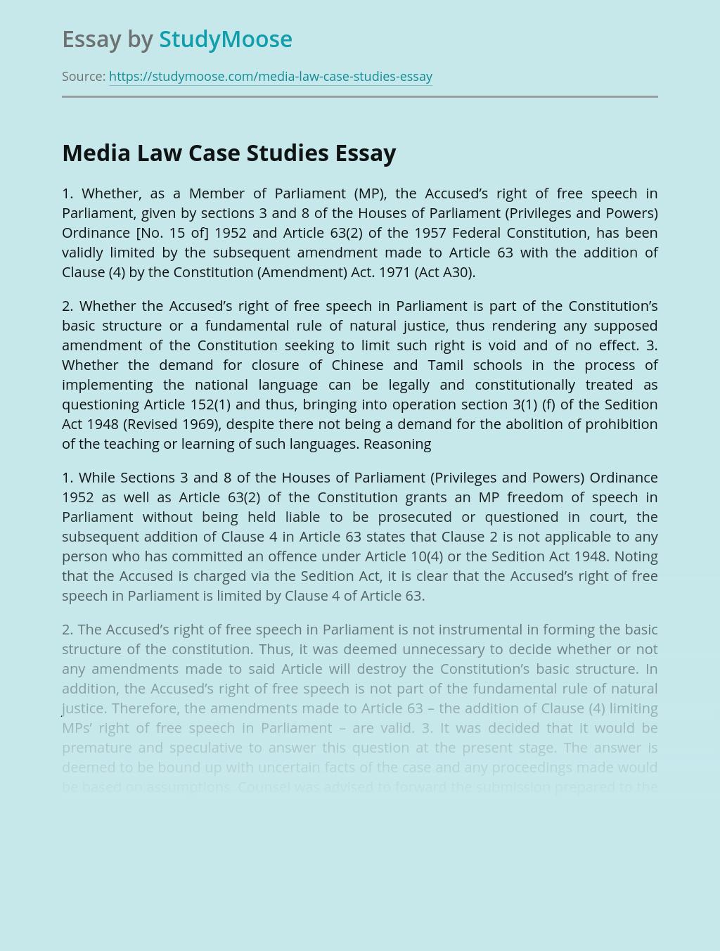Media Law Case Studies
