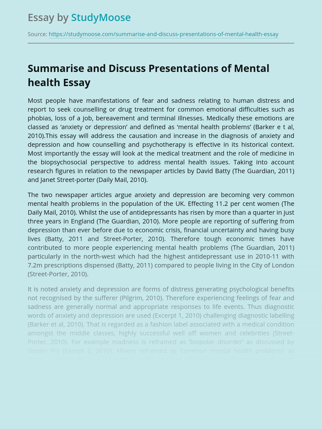 Summarise and Discuss Presentations of Mental health