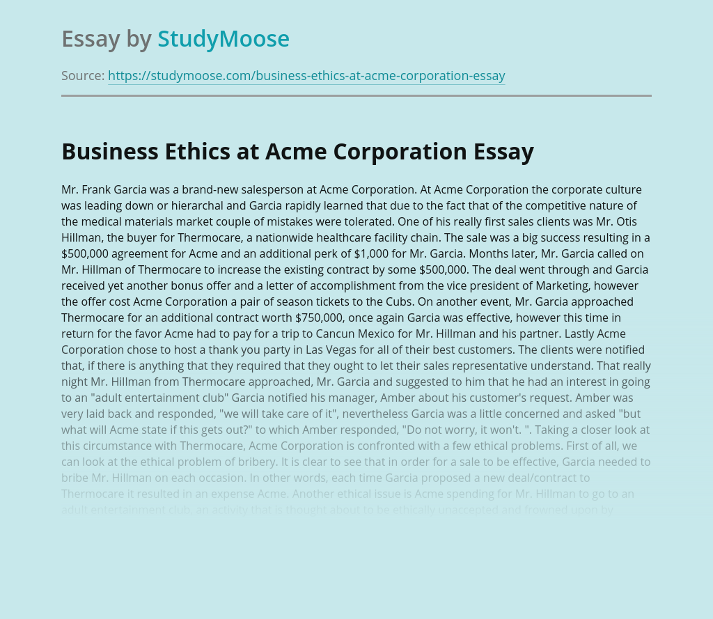 Business Ethics at Acme Corporation