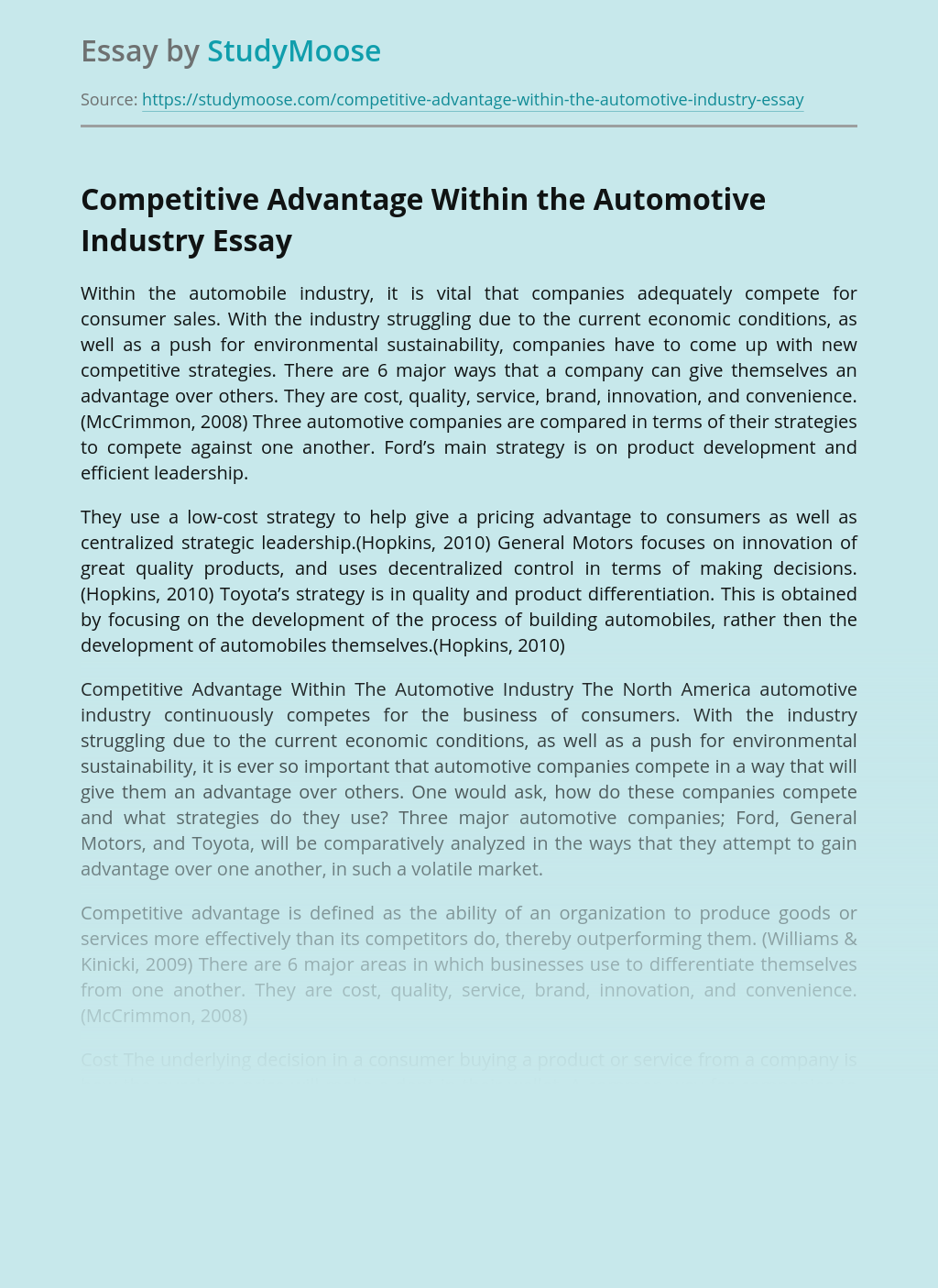 Competitive Advantage Within the Automotive Industry