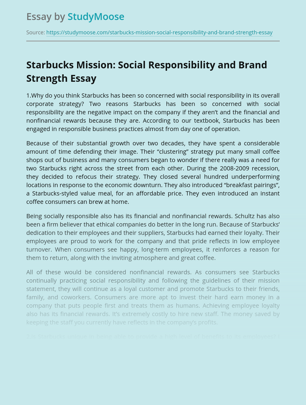 Starbucks Mission: Social Responsibility and Brand Strength