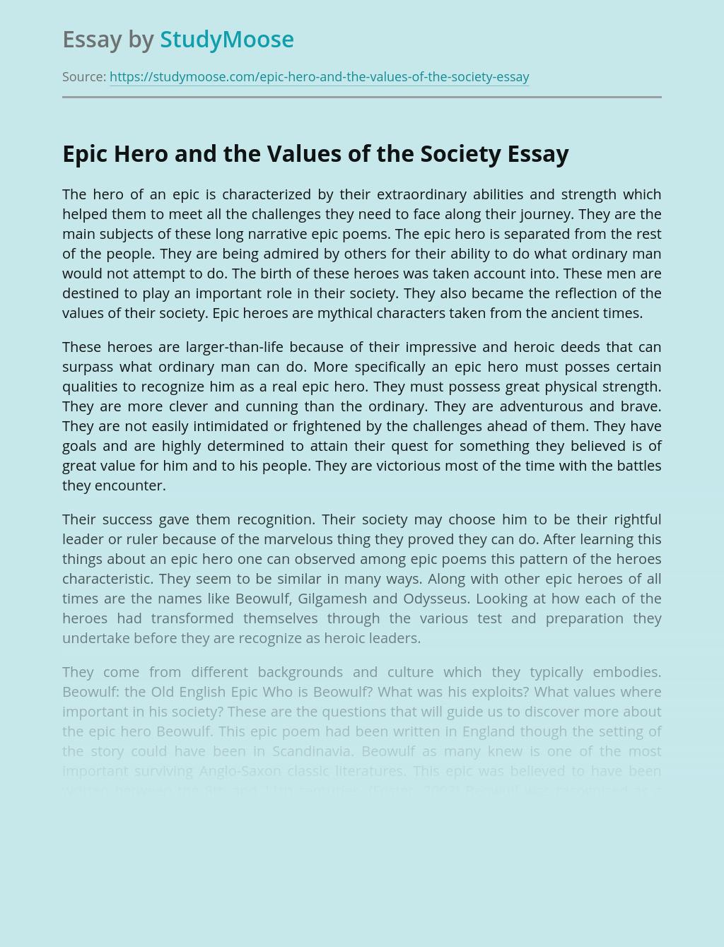Epic Hero and the Values of the Society