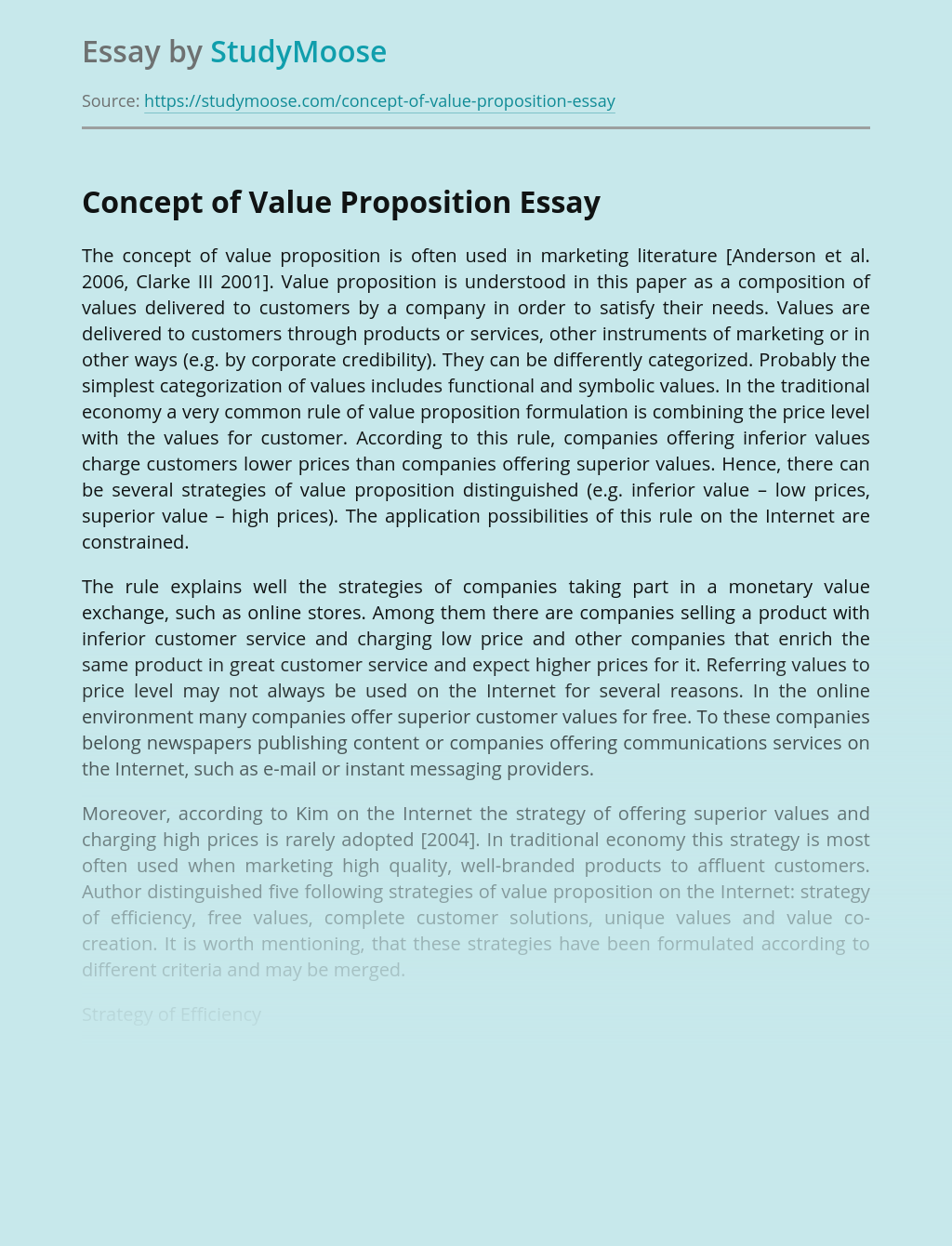 Concept of Value Proposition