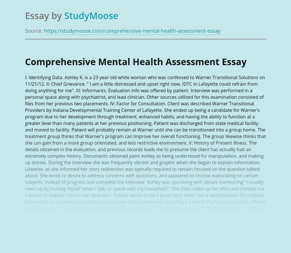 Comprehensive Mental Health Assessment