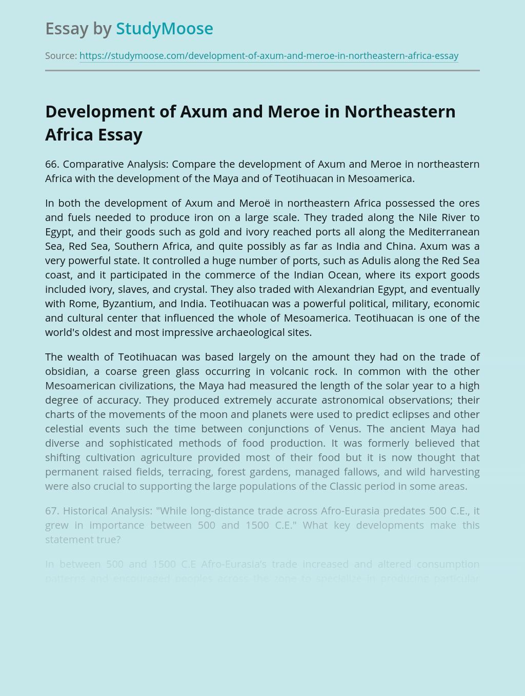 Development of Axum and Meroe in Northeastern Africa