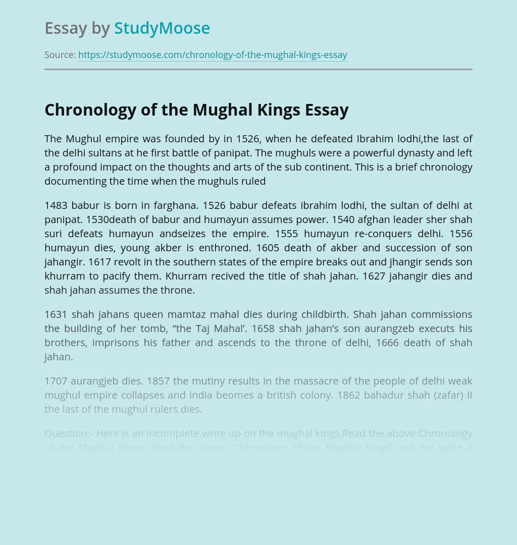 Chronology of the Mughal Kings