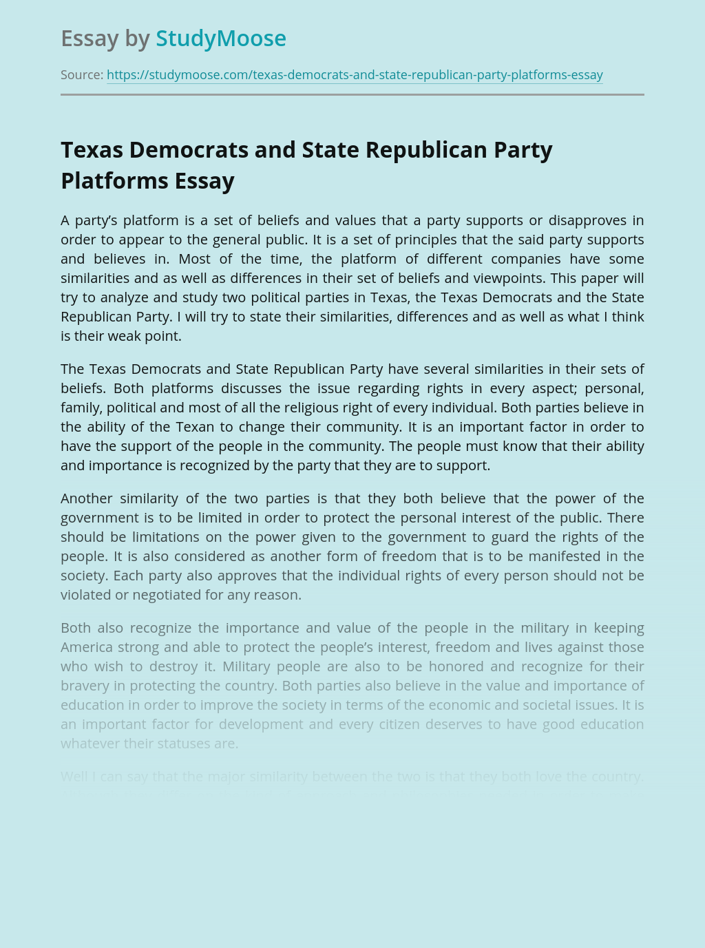 Texas Democrats and State Republican Party Platforms