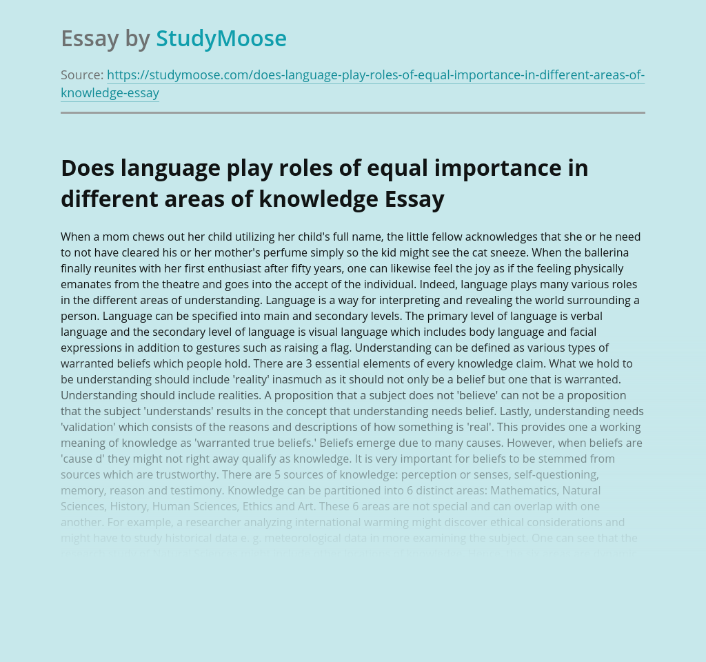 Does language play roles of equal importance in different areas of knowledge