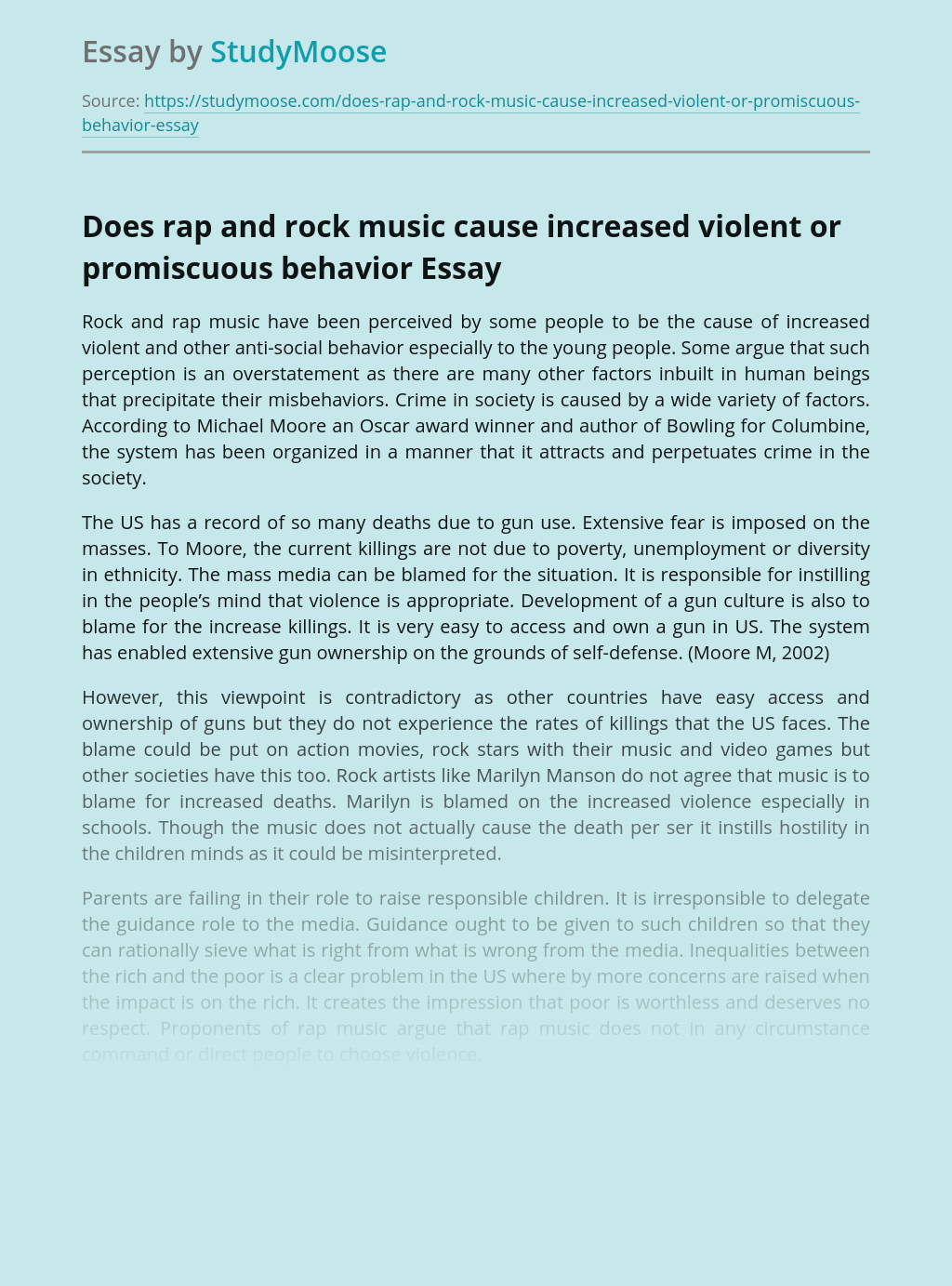 Does rap and rock music cause increased violent or promiscuous behavior