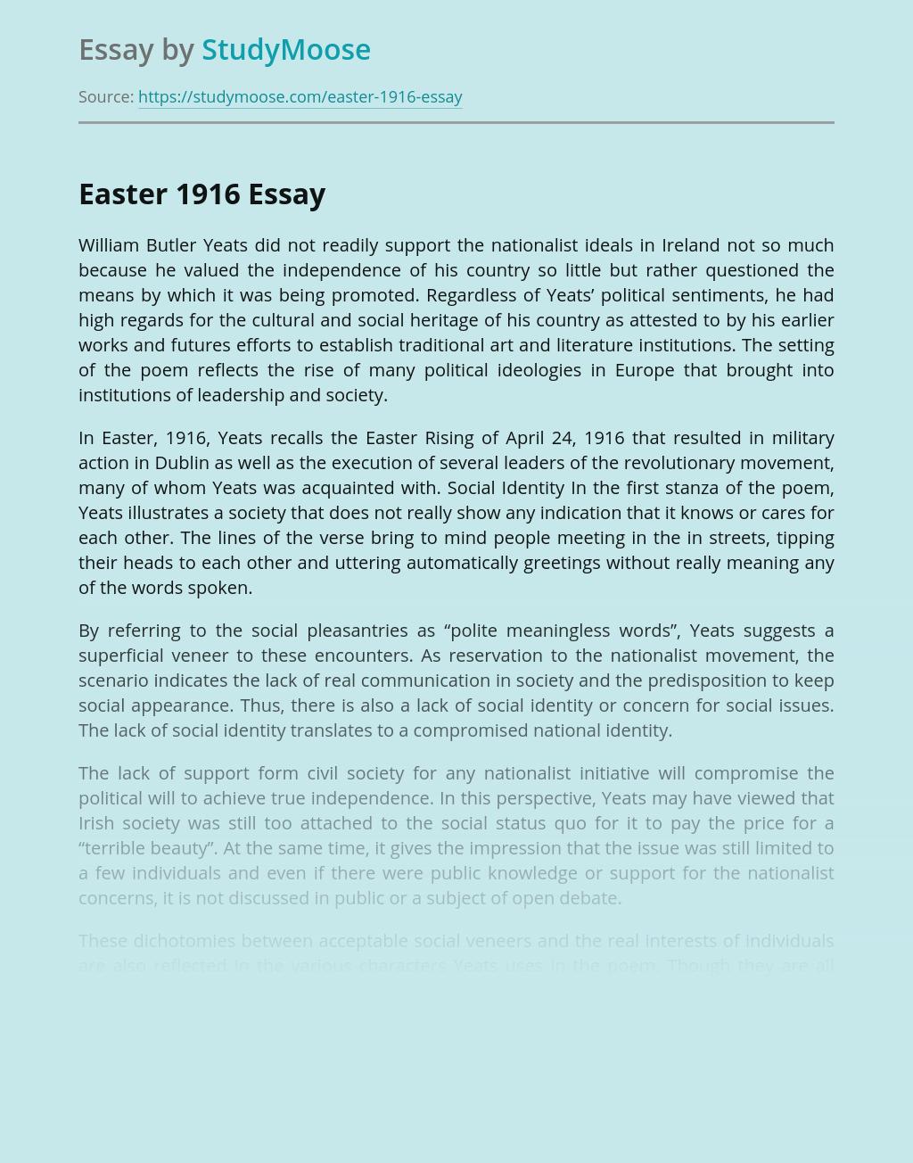 Easter 1916 William Butler Yeats