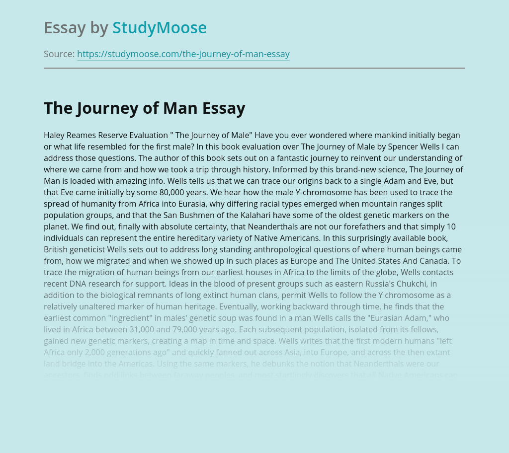 """Where Mankind Initially Began In """"The Journey of Male"""""""