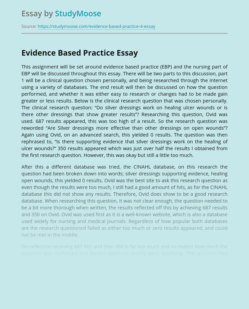 Evidence Based Practice in World