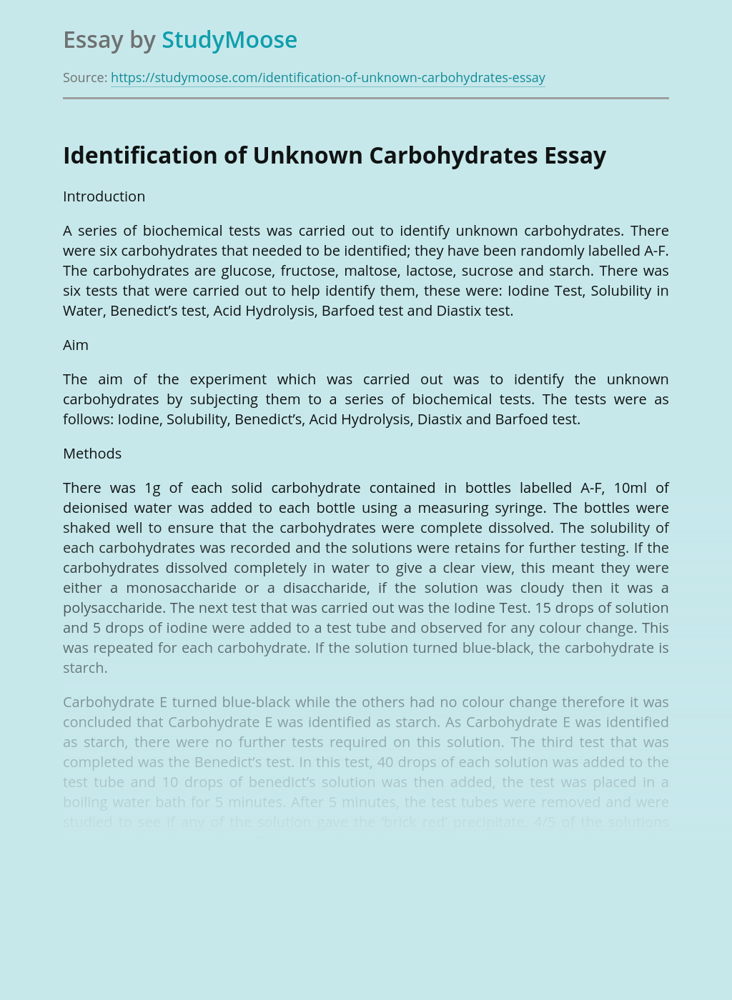 Identification of Unknown Carbohydrates