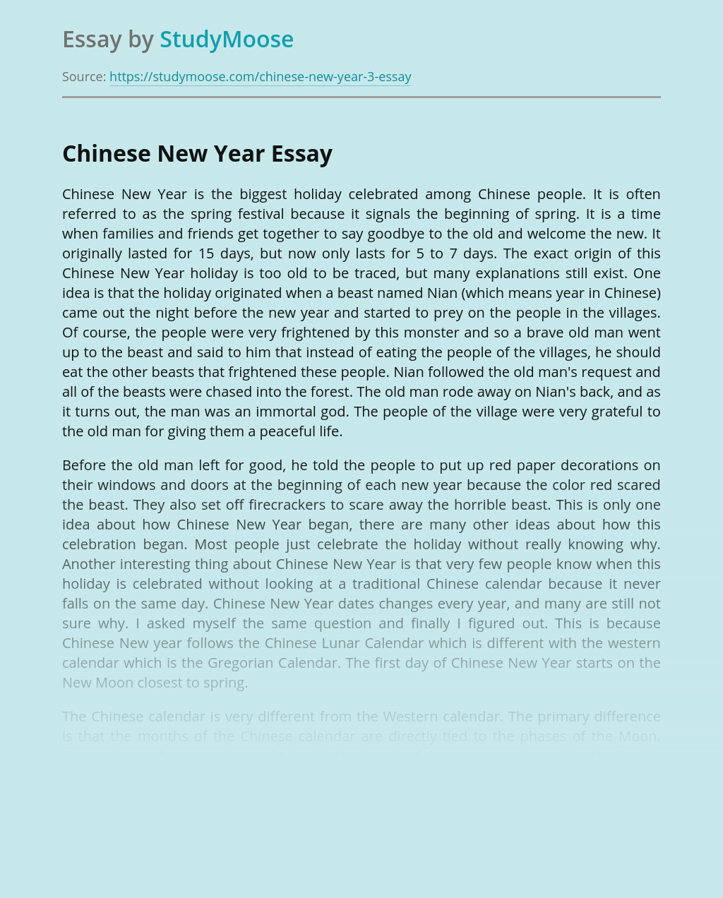 Chinese new year essay english abstract example paper