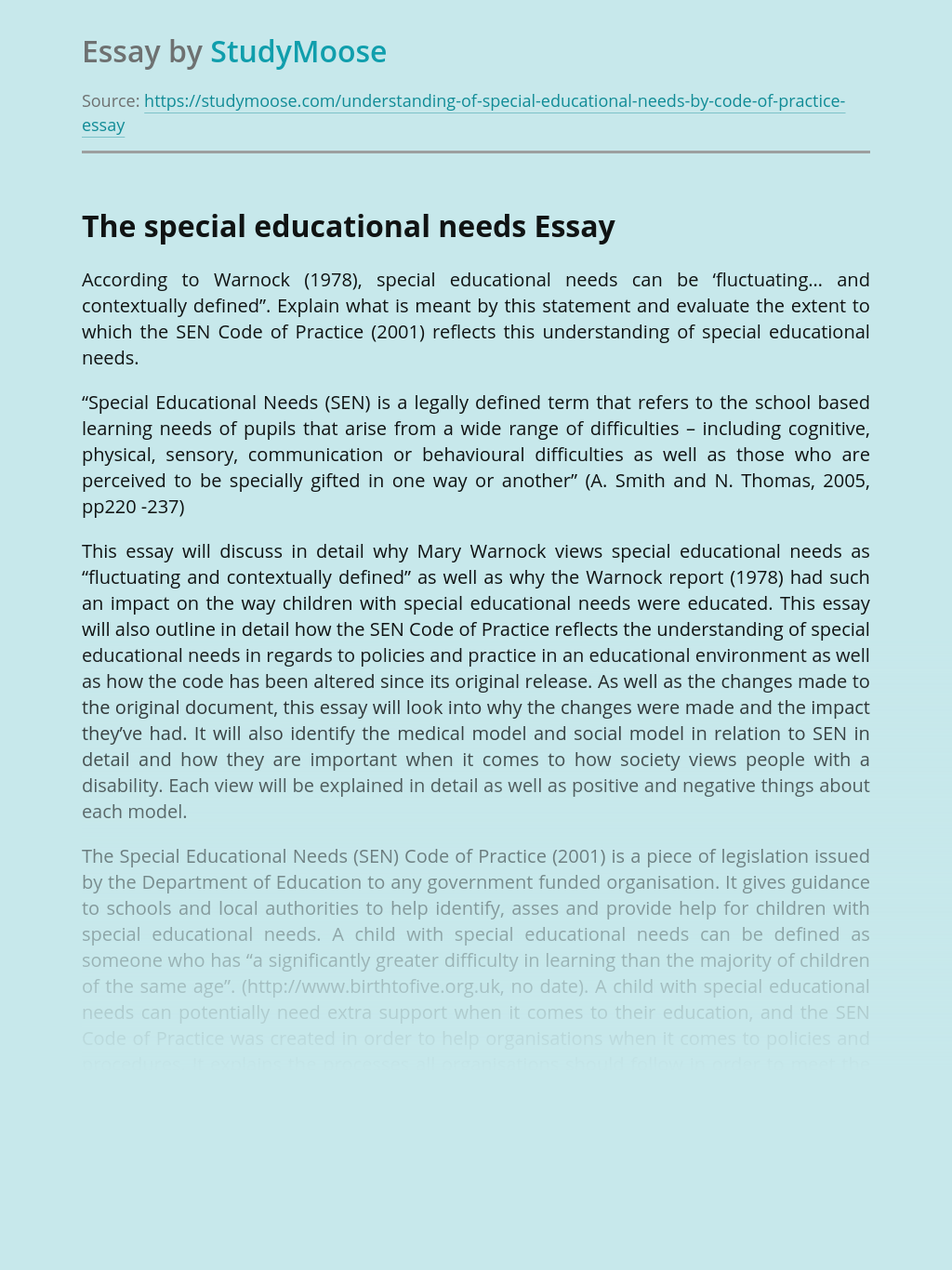 The special educational needs