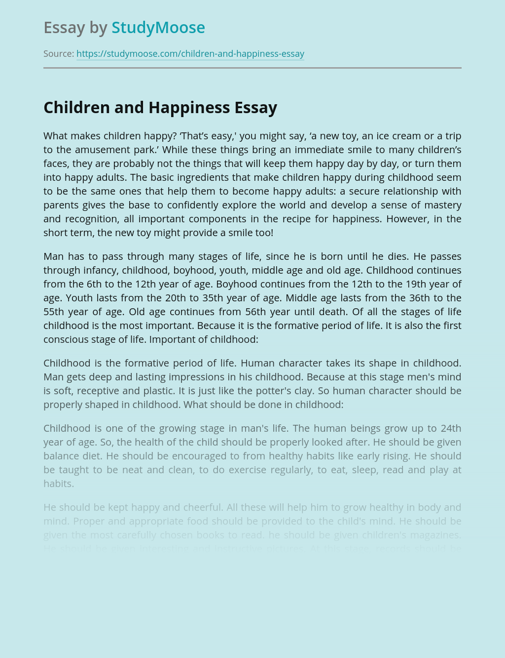 Children and Happiness